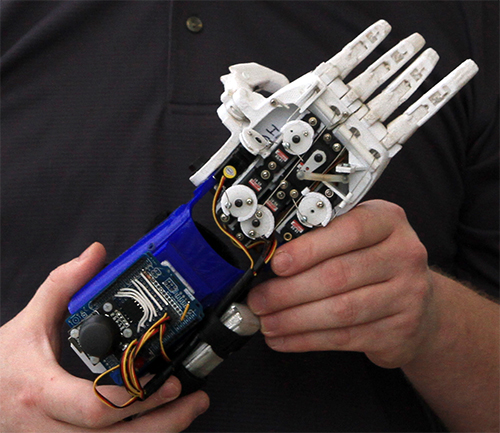 Close up of Brad Newby's prosthetic hand