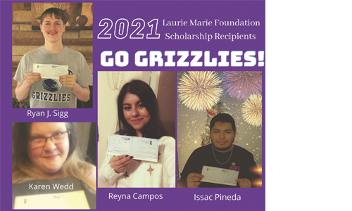 The 2021 Laurie Marie Foundation Scholarship Recipients: Ryan J. Sigg, Karen Wedd, Reyna Campos, and Isaac Pineda.