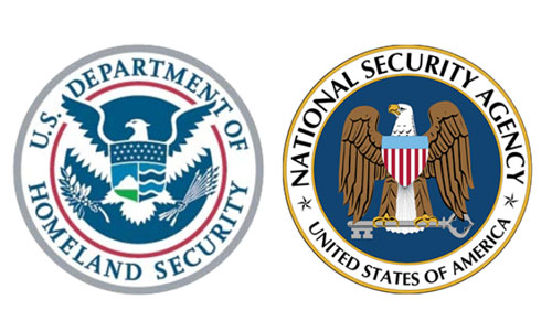 The seals of the U.S. Department of Homeland Security and the National Security Agency