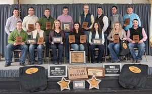 Butler Livestock Judging team in competition in Nebraska