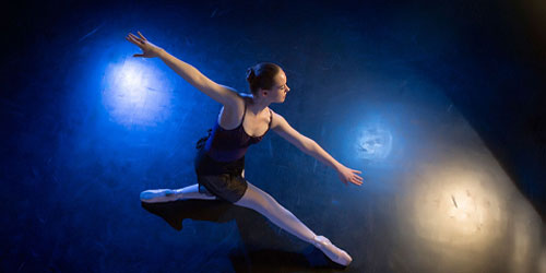 Dance student performs in studio near Wichita at Butler Community College