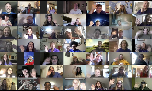 Butler Community College's choir in a Zoom class meeting