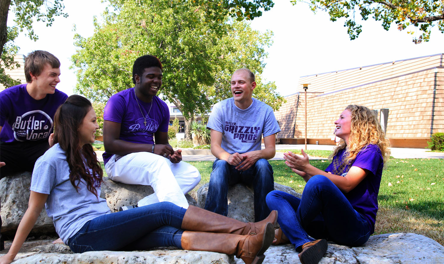 Photo of students talking outdoors
