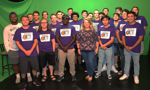Butler broadcast students stand together for a group photo.