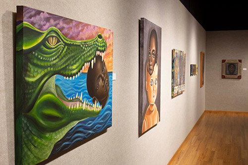 Kamela Eaton's exotic art is displayed in Butler Community College's E.B. White Gallery