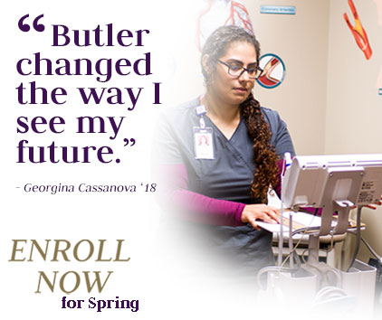 "Georgina Cassanova shares a quote ""Butler changed the way I see my future."""