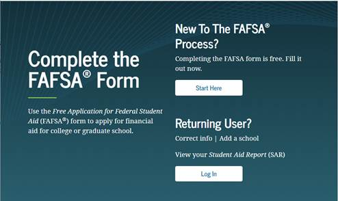 Image of the FAFSA website